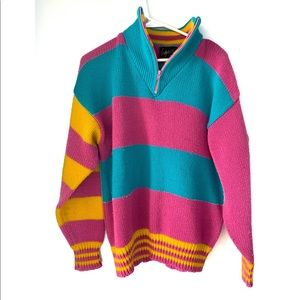 Vintage 90s/ 80s oversized half zip sweater neon